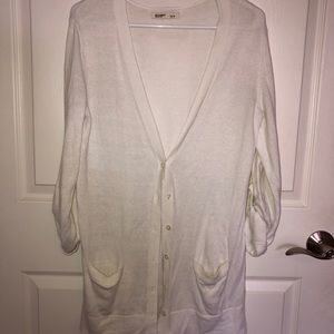 Long White Button Up Cardigan